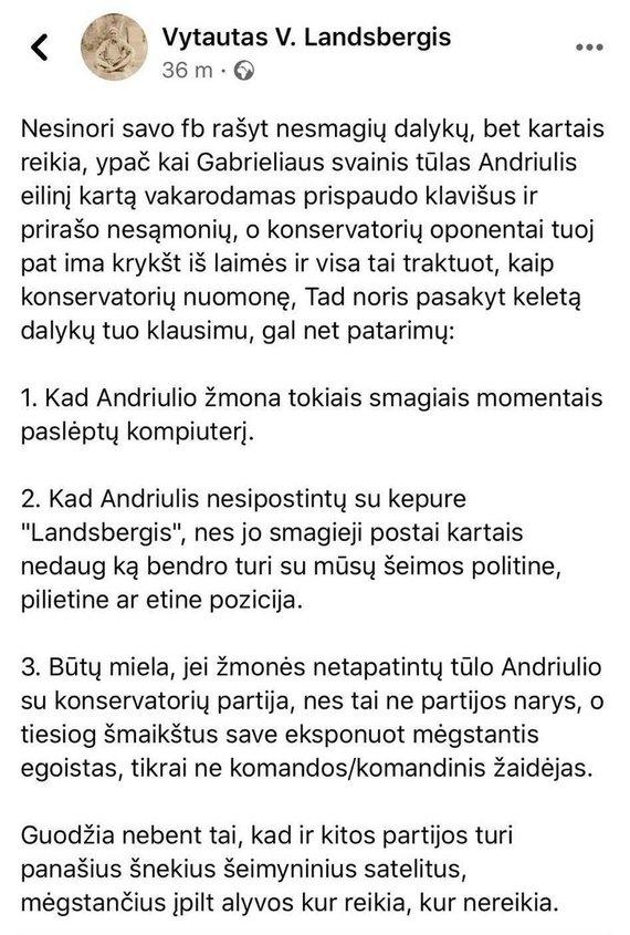 V.V.Landsbergio įrašas
