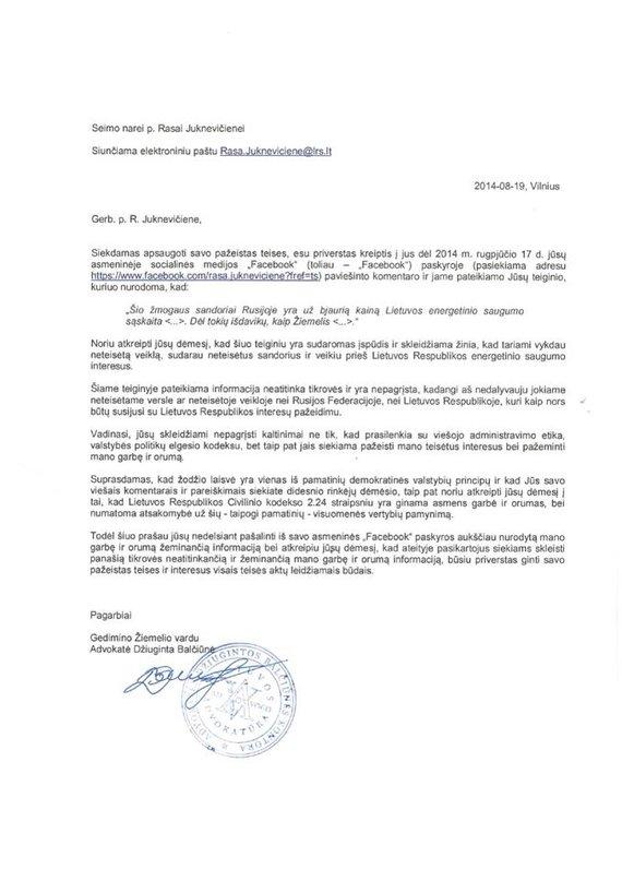 G.Žiemelio advokatės raštas R.Juknevičienei