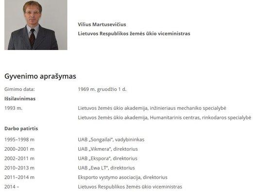 ŽŪM nuotr./Oficiali Viliaus Martusevičiaus biografija