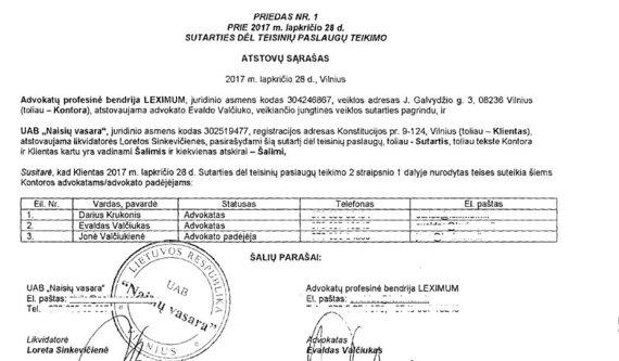 """""""Naisių vasaros"""" sutarties su LEXIMUM priedas"""