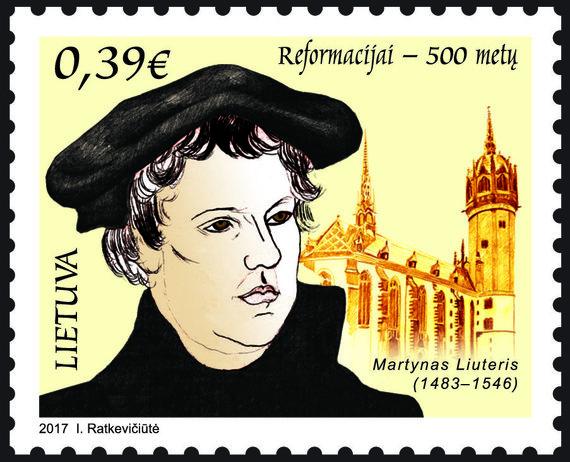 Lietuvos pašto nuotr./500 metų Reformacijos metines įamžinantis pašto ženklas