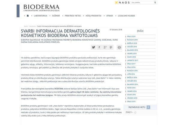 """""""Bioderma"""" įspėjimas"""