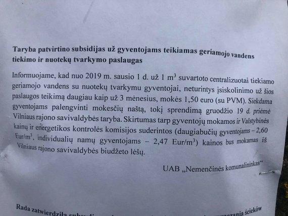 15min skaitytojo nuotr./Skelbimas Vilniaus rajone