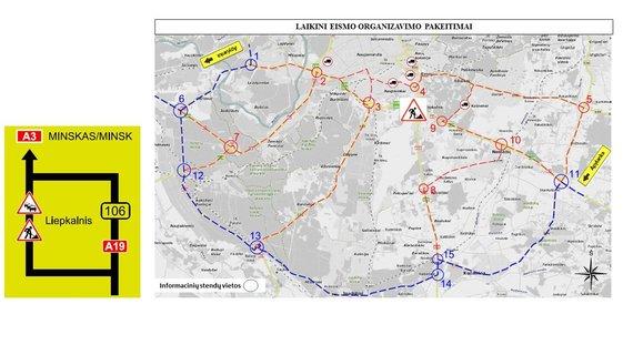Schema, kaip atrodys eismas rekonstruojant Liepkalnio, Žirnių g. ir Minsko pl. sankryžą