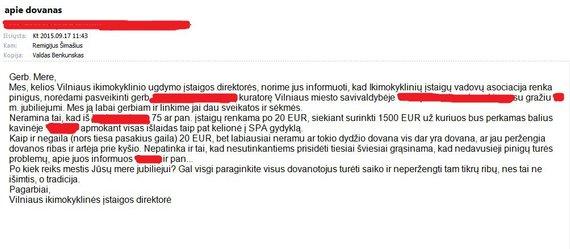 """""""Facebook""""/Valdo Benkunsko nuotr./Laiškas R.Šimašiui ir V.Benkunskui"""