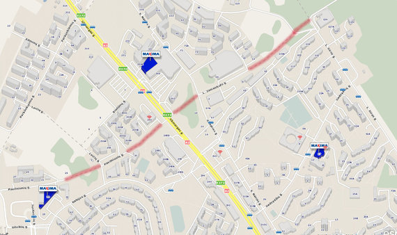 maps.lt nuotr./Būsimosios Pavilnionių ir L.Zamenhofo gatvės Vilniuje