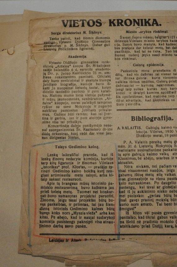 """Mariano Sokalskio nuotr./Savaitraščio """"Vilniaus rytojus"""" 1930 m. balandžio mėn. pranešimai, išsaugoti LCVA"""