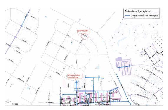 Plane pažymėta vietovė, kurioje yra lietaus semiama gatvė ir artimiausi lietaus nuotekų tinklai.