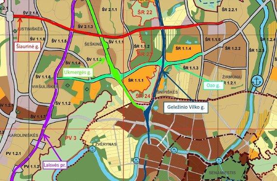 Vilniaus miesto planas su Šiaurine gatve