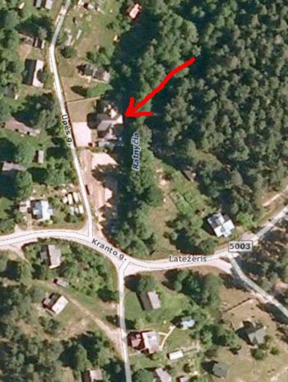 Mero R.Malinausko namo vieta pažymėta rodykle