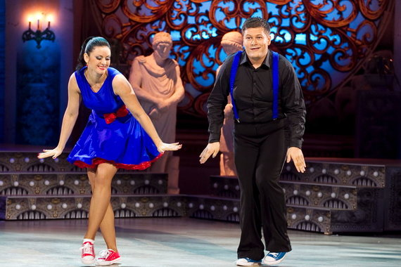 Viganto Ovadnevo nuotr./Merūnas Vitulskis ir Ieva Žilienė TV šokių projekte 2012 metais