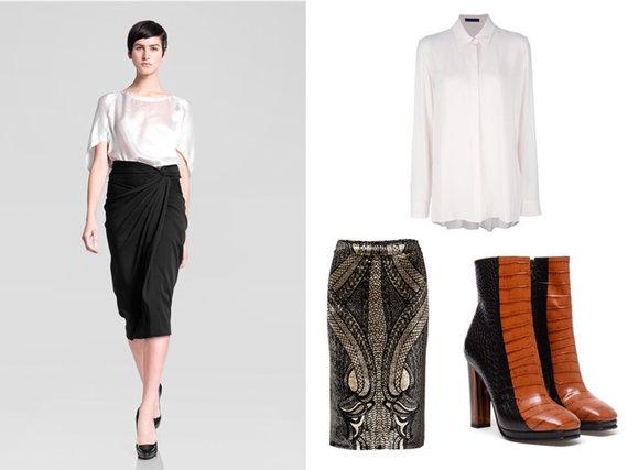 Iš kairės: Donna Karen pre-fall 2013 m. kolekcija, The Row marškiniai, Etro sijonas, Dries Van Noten aukštakulniai.