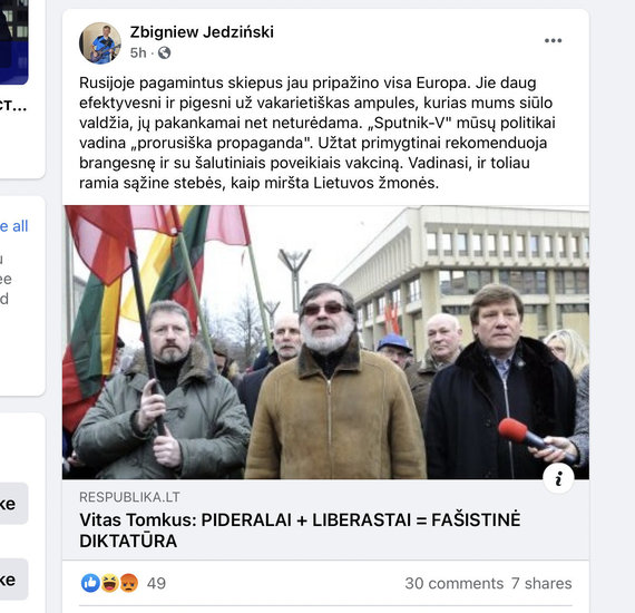Photo  from Facebook / Commentary Zbignev Jedinskis also shared the comment