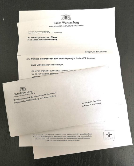 Egle Zicari / In Germany, letters are sent to residents about COVID-19 vaccinations