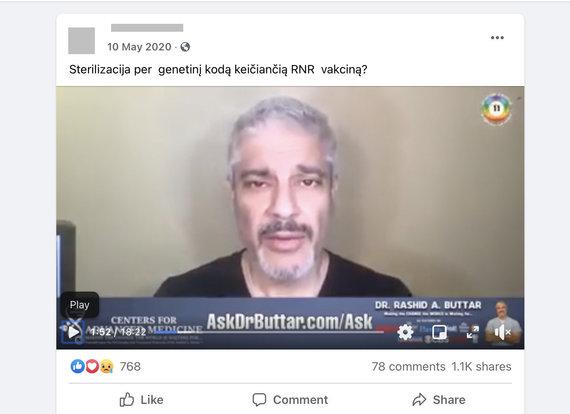 """Ekrano nuotr. iš """"Facebook""""/JAV osteopatas Rashidas Buttaras yra vienas aktyviausių konspiracijos teorijų skleidėjų"""