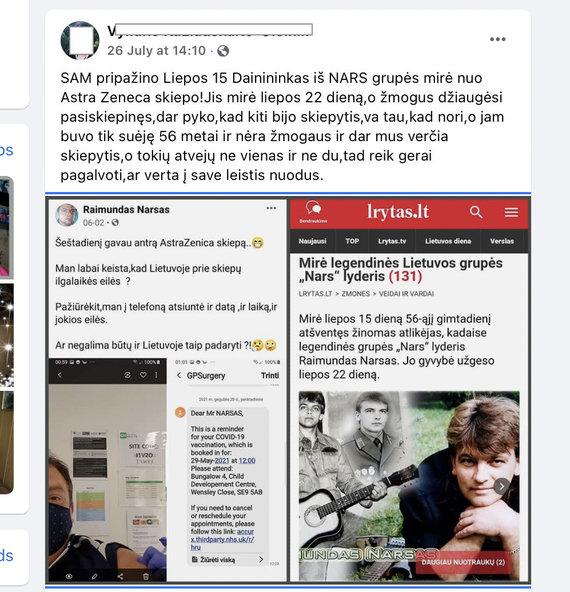 """Ekrano nuotr. iš """"Facebook""""/""""Facebook"""" vartotoja paskelbė niekuo nepagrįstą informaciją apie buvusio atlikėjo mirtį"""