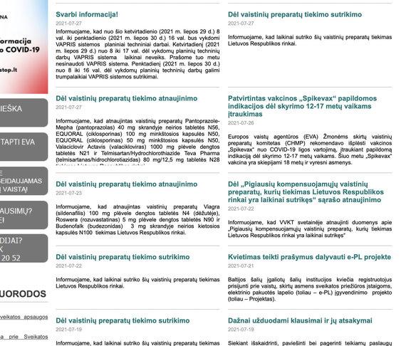 Ekrano nuotr. iš vvkt.lt/Valstybinės vaistų kontrolės tarnybos naujienos