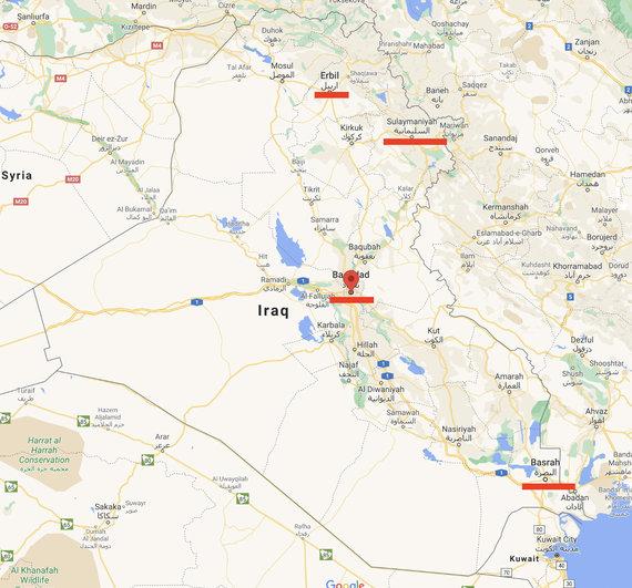 Ekrano nuotr. iš maps.google.com/Skelbiama, kad nuo šiol skrydžiai į Minską vyks iš keturių Irako miestų