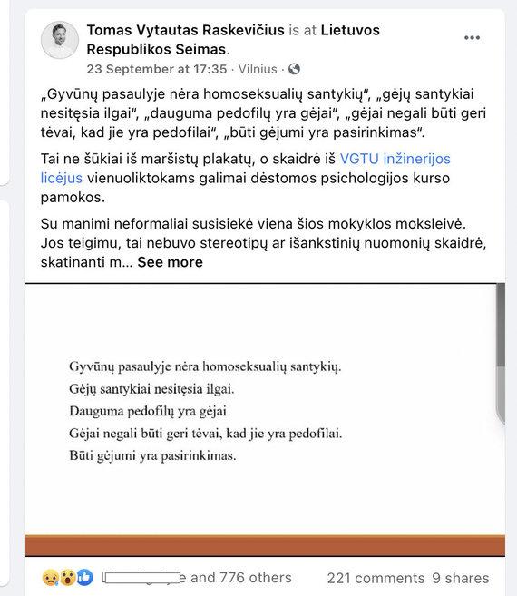 """Ekrano nuotr. iš """"Facebook""""/Skaidrė iš pamokos apie LGBT+"""