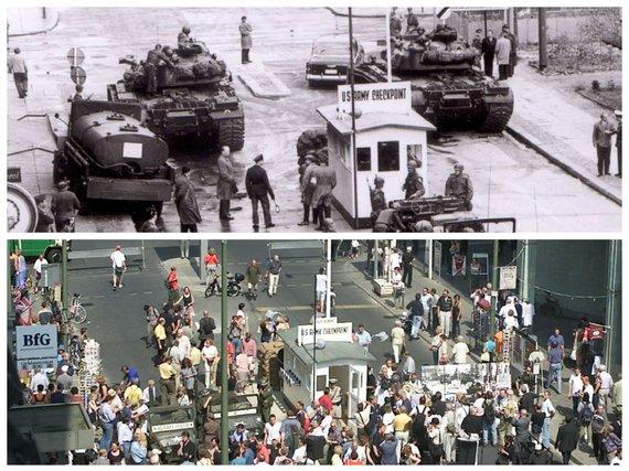 """""""Reuters""""/""""Scanpix"""" nuotr./Čarlio postas (Checkpoint Charlie) 1961 ir 2000 m."""