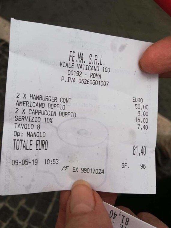 Emma C Cheppy nuotr./Sąskaita Caffe Vaticano restorane