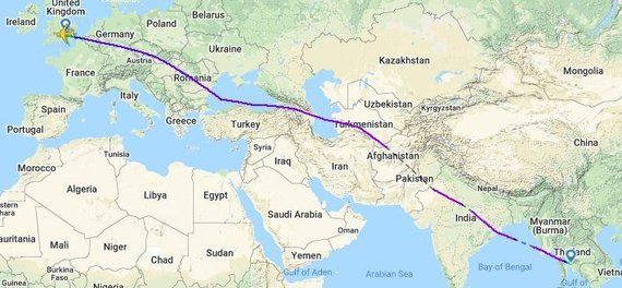 "flightradar24.com iliustr./""British Airways"" aplenkia Irano erdvę skrisdami tarp Londono ir Bankoko"