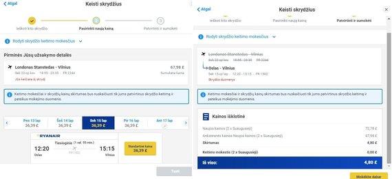 Keičiant skrydžius kaina tomis pačiomis datomis jau didesnė