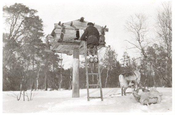 """Karl Nickul, Fenno-Ugric Picture Collection, Finnish Heritage Agency nuotr./Tradicinis samių """"Niliaitta"""" namelis, naudotas kaip maisto saugykla"""