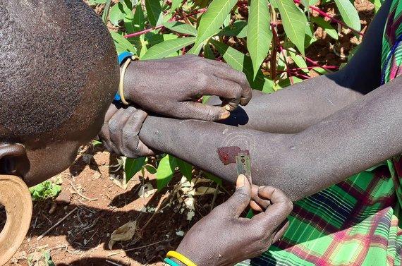 D.Pankevičiaus nuotr./Jaunos mergaites mėgsta puoštis randais, kurie susidaro po odos išpjaustinėjimo. Surma gentis. Etiopija