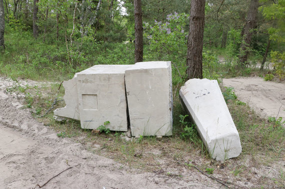 D.Nikitenkos/VE.lt nuotr./Po audros nuo kopagūbrio nugriuvęs ir suskilęs, iš Lietuvos-Latvijos pasienio ties Būtinge atvežtas tarpukario obeliskas