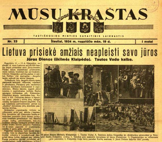 """Šiaulių laikraščio """"Mūsų kraštas"""" 1934 m. rugpjūčio 19 dienos numerio titulinis puslapis."""