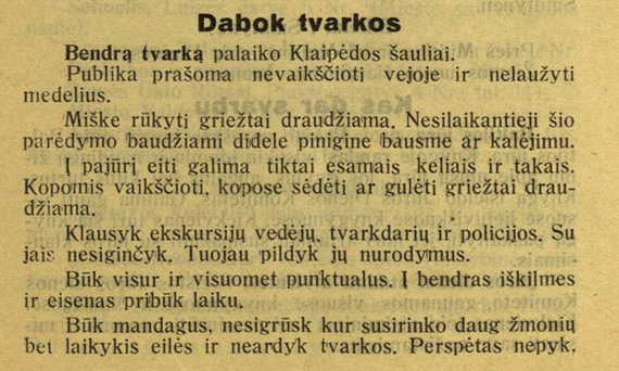 Informacija 1934-ųjų Jūros dienos dalyviams
