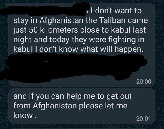 Dano gautos žinutės iš pažįstamų afganų