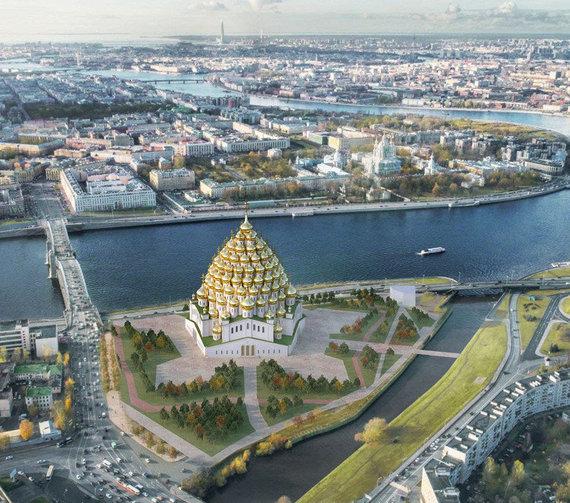 """PapaUrban/""""Клизма романтизма"""" iliustr./Sankt Peterburge pasiūlė pastatyti 320-ies kupolų bažnyčią"""
