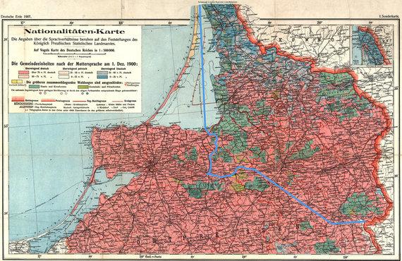 Paul Langhans, Gotha: Perthes, 1907/Mažosios Lietuvos etnografinis žemėlapis 1876 m.