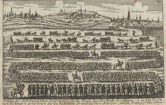 Kupferstecher: Elias Beck. Landeskirchliche Zentralbibliothek/Zalcburgiečių migracija