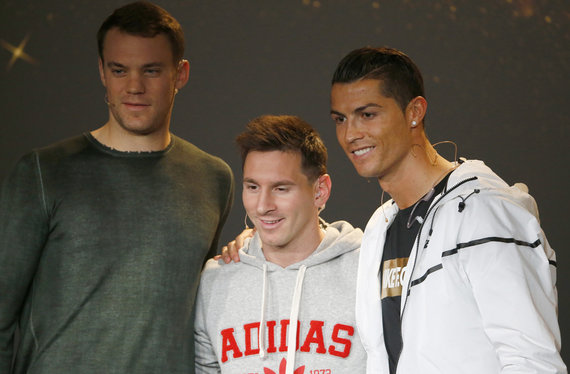 """Reuters""/""Scanpix"" nuotr./Manuelis Neueris, Lionelis Messi ir Cristiano Ronaldo"