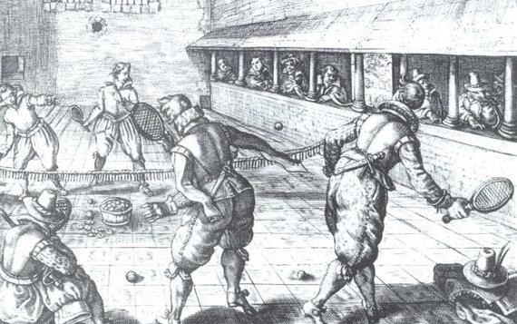 Raižinys, vaizduojantis Jeu de Paume, 1608 m.