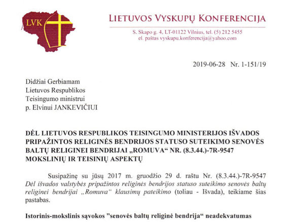 15min nuotr./Vyskupų konferencijos laiškas Teisingumo ministerijai