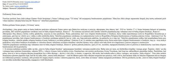 15min nuotr./Arkivyskupo G.Grušo laiškas parlamentarams
