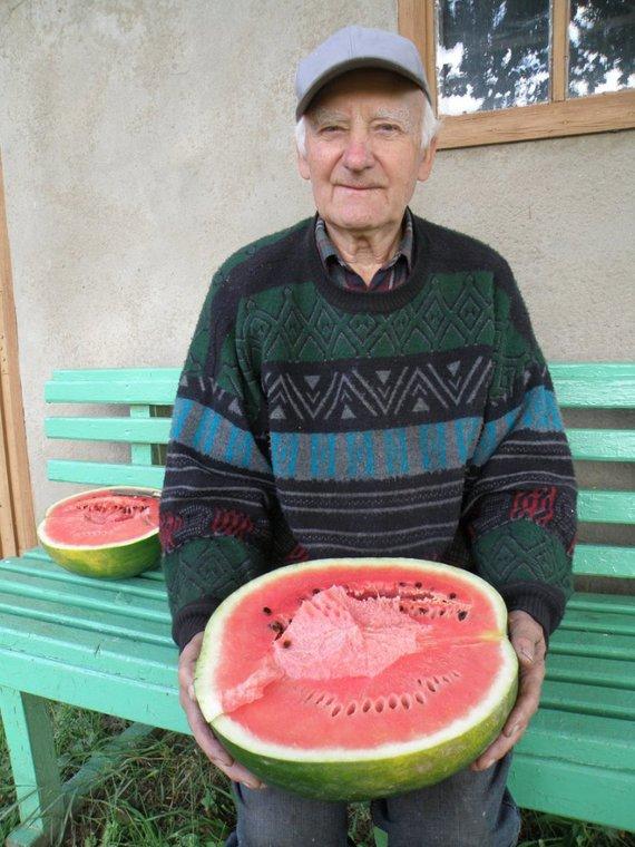Asmeninio archyvo nuotr. /Kostas Nedzveckas su savo užaugintais lietuviškais arbūzais