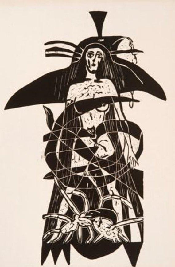 Šikšnosparnis, paukštis, moteris, 1986, linoraižinys, 78,5 x 48,5 cm (Modernaus meno centro kolekcija)