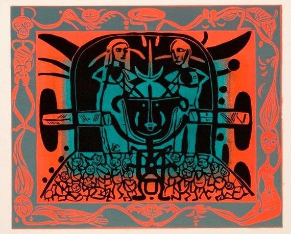 Degimas, 1982, spalvotas linoraižinys, 62,5 x 76 cm (Modernaus meno centro kolekcija)