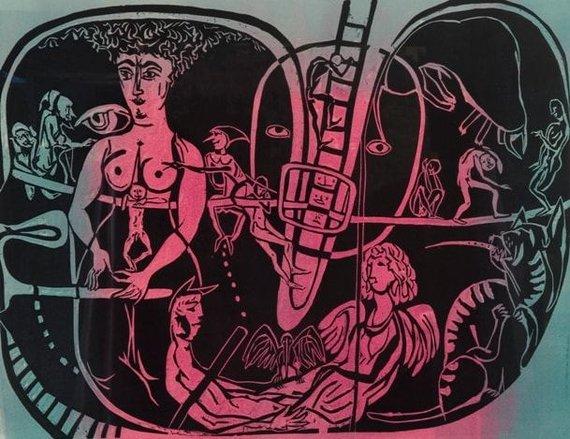 Vaidinimas, 1983, spalvotas linoraižinys, 61,5 x 79 cm (Modernaus meno centro kolekcija)