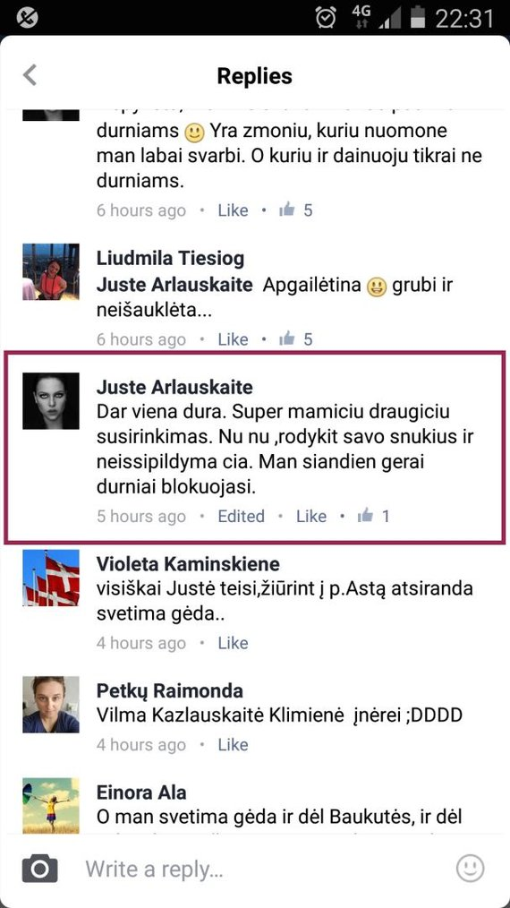 """Diskusija Beatos Tiškėvič """"Facebook"""" paskyroje / 2016 sausio 7 d."""