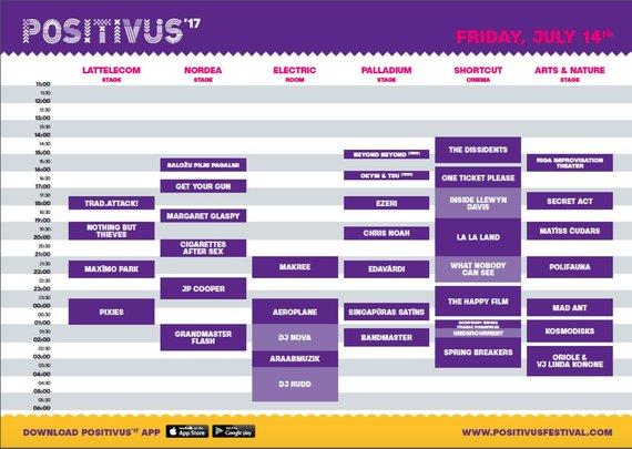 """Festivalio """"Positivus 2017"""" penktadienio programa"""