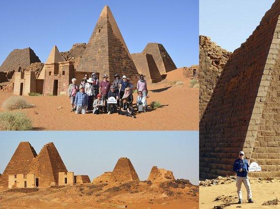 """Kelionių organizatoriaus """"GRŪDA"""" nuotr./Keliautojai prie Merojė piramidžių, Sudanas"""