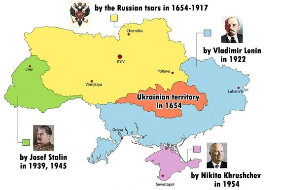 """Rusijos žiniasklaida dabar bando įrodyti, kad Ukraina """"istoriškai neturi teisės egzistuoti""""."""