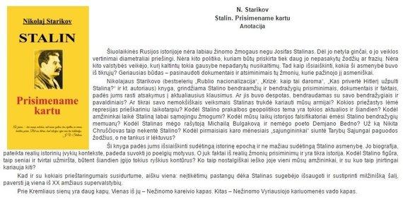 """""""Baltos gulbės"""" nuotr./Nikolajaus Starikovo knygos """"Stalinas: Prisimename kartu"""" anotacija"""