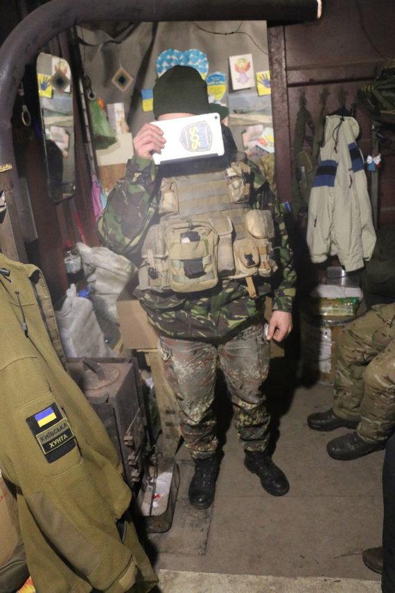 Ukrainos žvalgas su lietuvių atvežta uniforma: vokiškos kelnės, britiška striukė